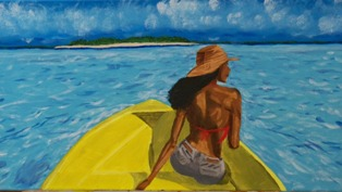 The Woman In the Boat Acrylic on canvas